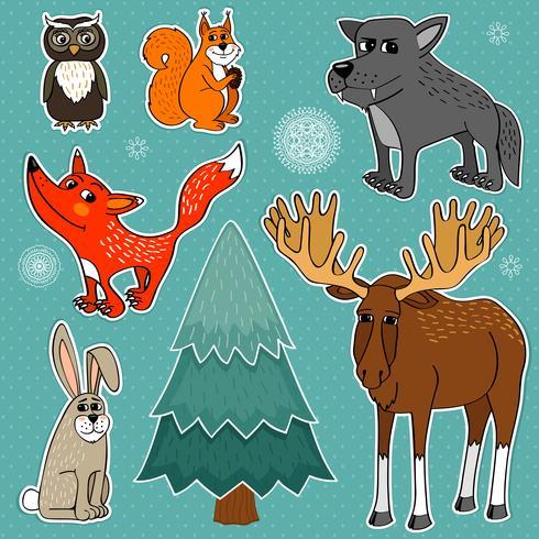 animaux de la forêt d'hiver vecteur