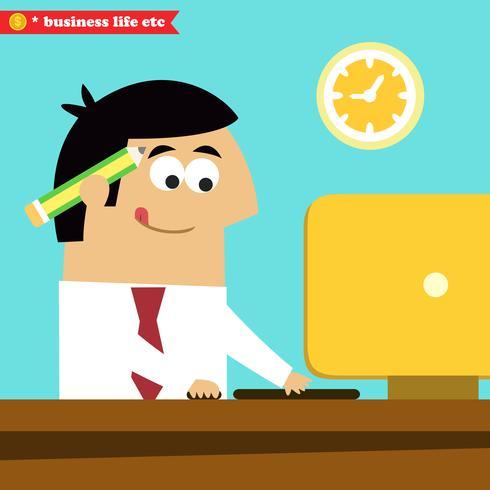 Manager travaillant assidûment sur l'ordinateur vecteur