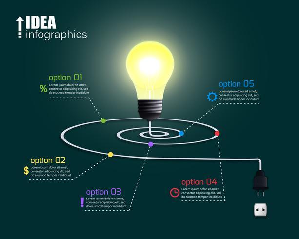 Ampoule créative avec options vecteur