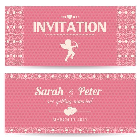 Carte d'invitation romantique Saint Valentin vecteur