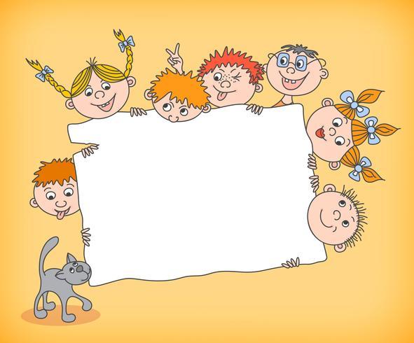 Doodle enfants tenant une pancarte blanche vecteur