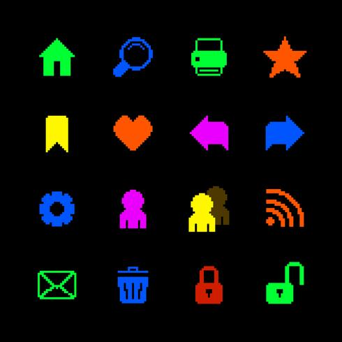Icônes de pixels colorés définies pour le site Web vecteur