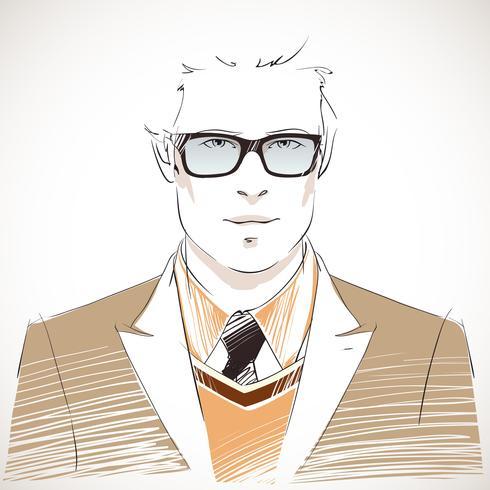 Beau portrait de jeune homme d'affaires vecteur