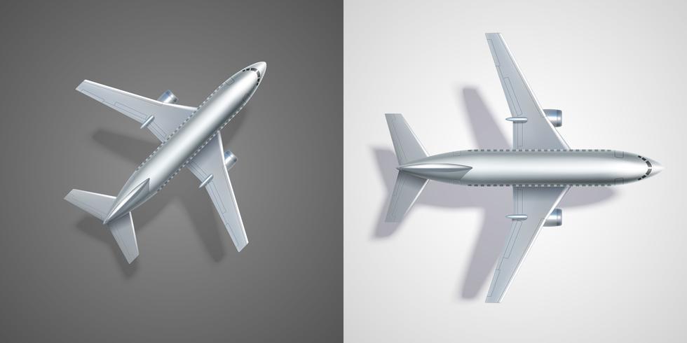 Voler des icônes de l'avion sur noir et blanc vecteur