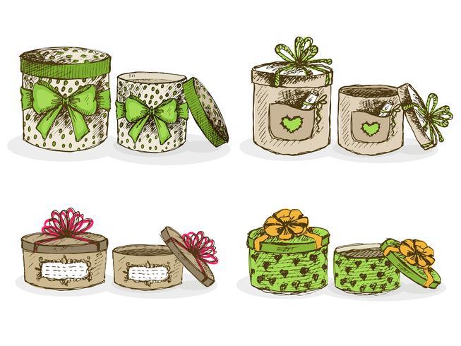 Boîtes à chapeau ouvertes et fermées avec décor vecteur