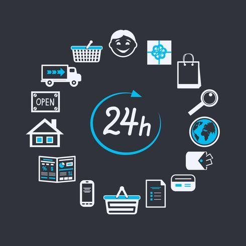 Site Internet magasin ouvert 24 heures vecteur