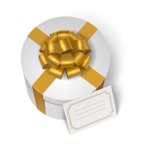 Boite cadeau mariage avec ruban jaune et noeud vecteur