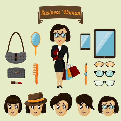 Pack personnage hipster pour femme d'affaires vecteur