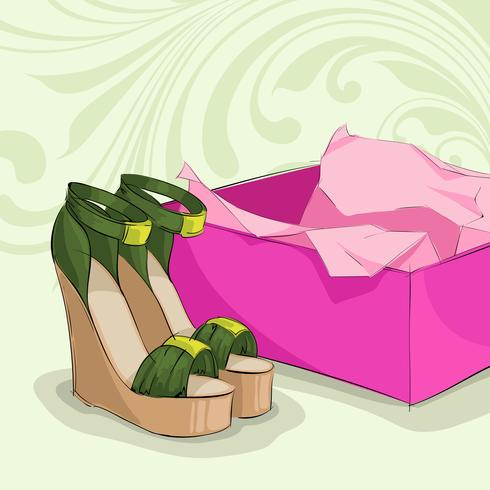 Sandales vertes de femme moderne vecteur