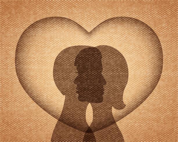 couple amoureux silhouettes vecteur