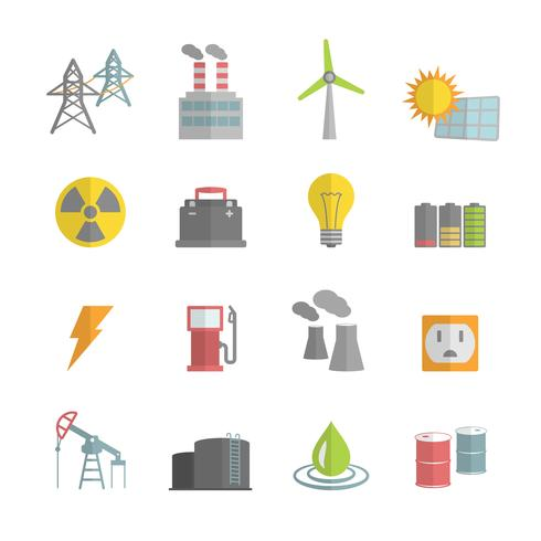 Énergie plat Icons Set vecteur