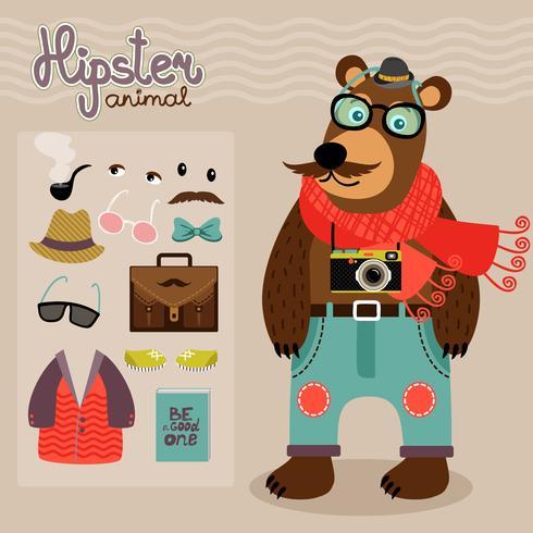 Hipster pack pour ours en peluche animal vecteur