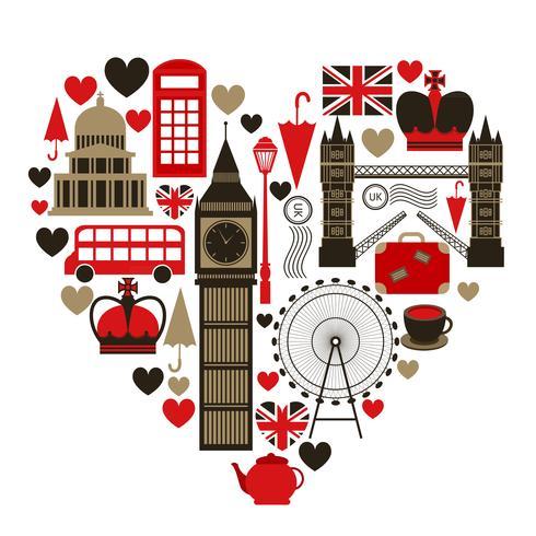 Amour symbole du coeur de Londres vecteur