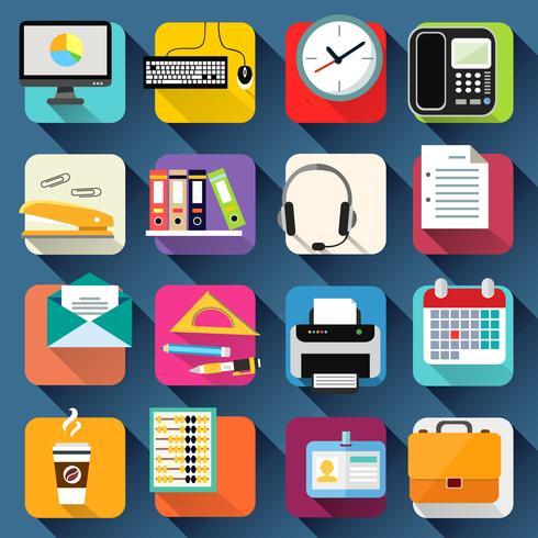 Set d'icônes de bureau bureau d'affaires vecteur