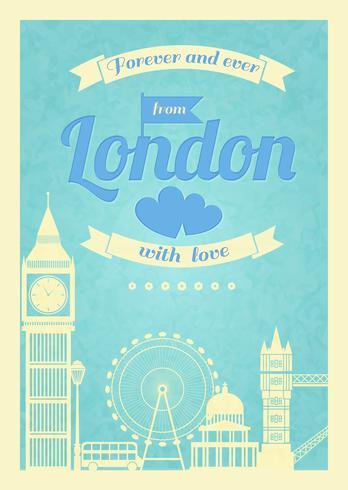 Affiche rétro vintage Love London vecteur
