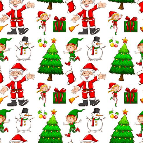 Fond transparent avec elf et santa vecteur