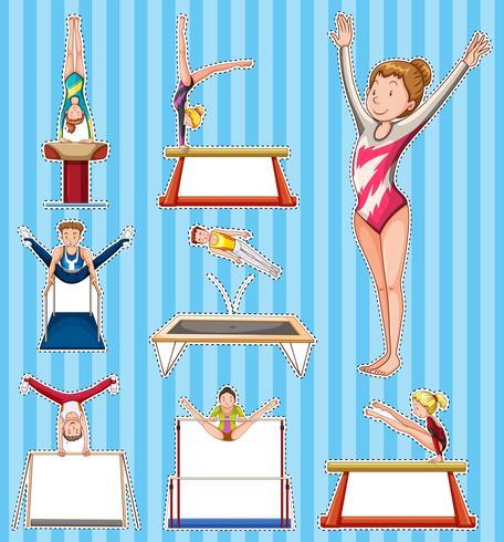 Ensemble d'autocollants pour les gymnastes vecteur