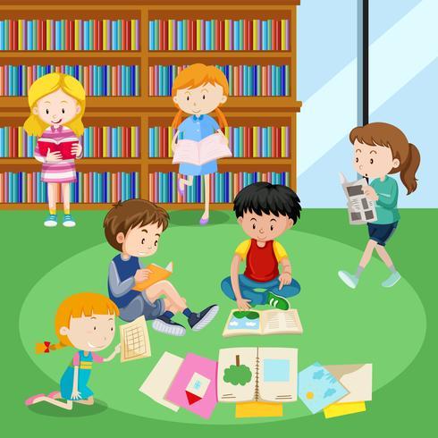 Étudiants, lecture, livres, bibliothèque vecteur