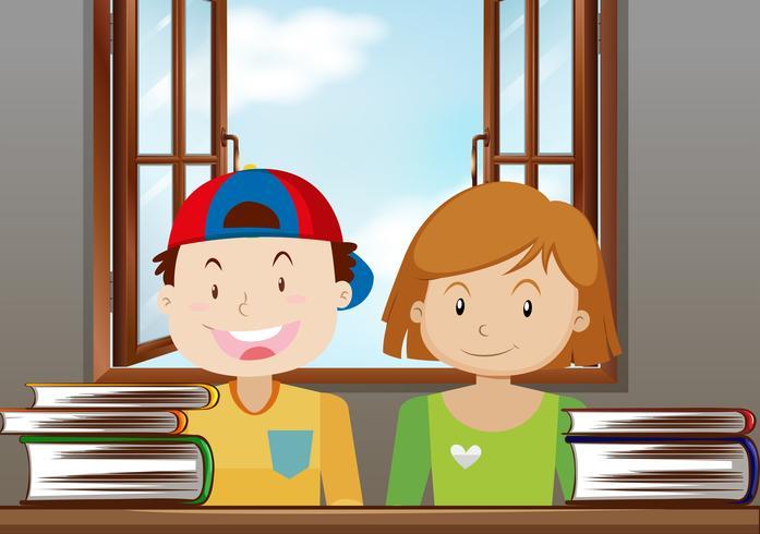 Garçon et fille lisant dans la salle de classe vecteur
