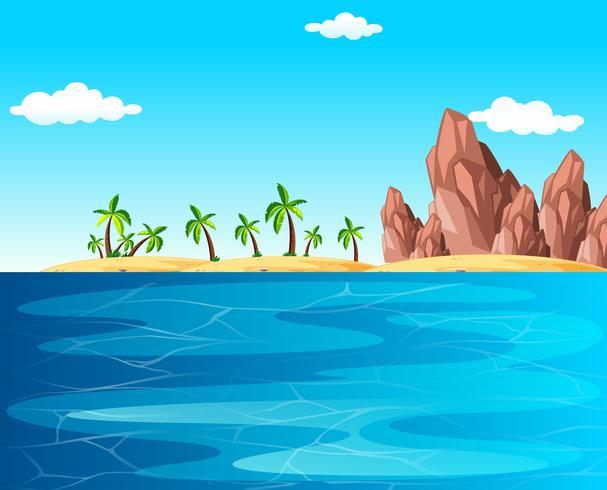 Scène de fond avec l'océan et la plage vecteur