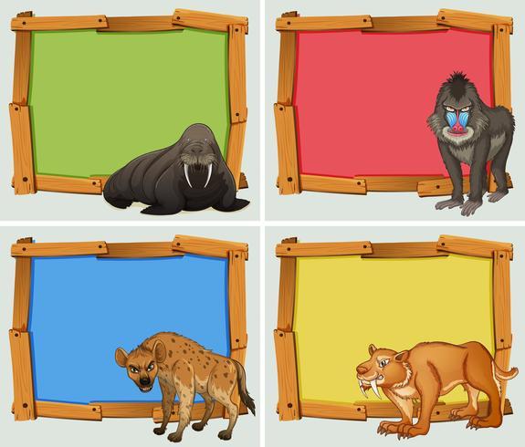 Frame design avec des animaux sauvages vecteur