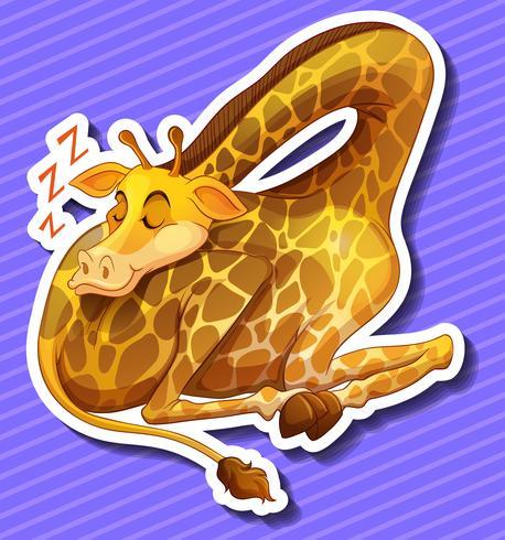 Jolie girafe dormant seule vecteur