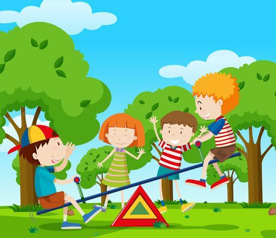Enfants jouant à la balançoire dans le parc vecteur