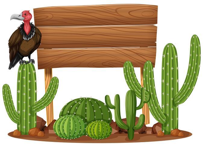 Panneau en bois et vautour dans le jardin de cactus vecteur