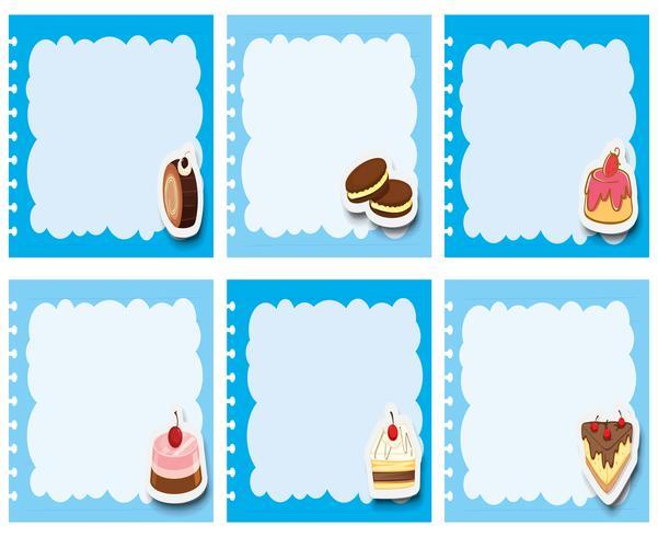 Création d'étiquettes avec des desserts dans un cadre bleu vecteur