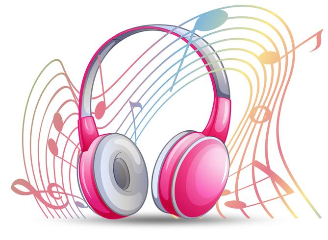 Casque rose avec notes de musique en arrière-plan vecteur