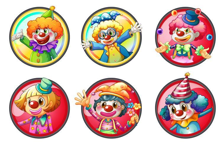 Personnages de clown sur des badges ronds vecteur