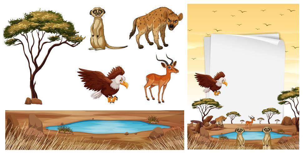 Scène avec des animaux sauvages dans la savane vecteur