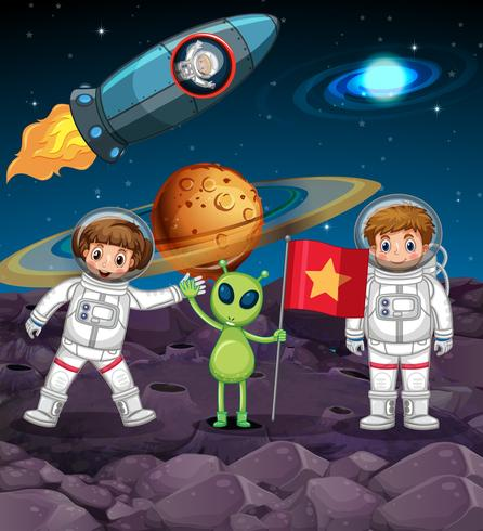 Thème de l'espace avec deux astronautes et alien avec drapeau vecteur