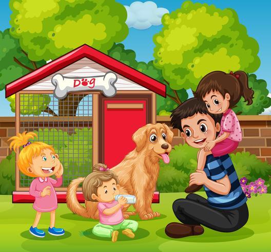 Père et trois filles avec chien dans jardin vecteur