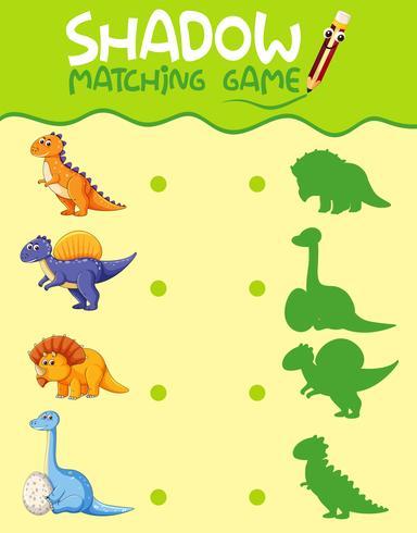 Modèle de jeu d'ombre correspondant à un dinosaure vecteur