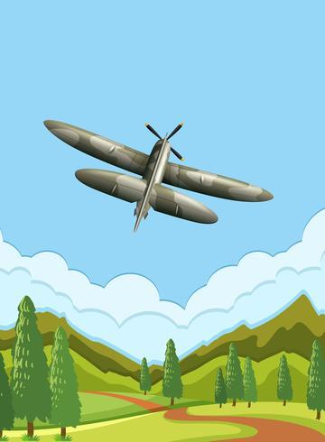 Un avion de l'armée sur le ciel vecteur