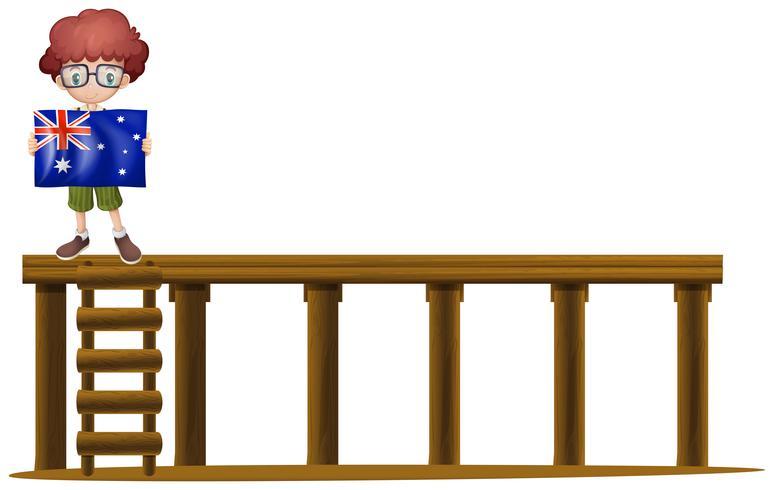 Garçon et drapeau de l'Australie sur scène vecteur