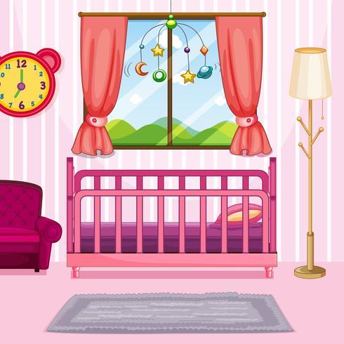 Scène de chambre à coucher avec lit rose vecteur