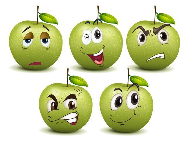 Pommes vertes avec différentes émotions vecteur