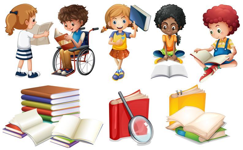 Enfants lisant des livres sur fond blanc vecteur
