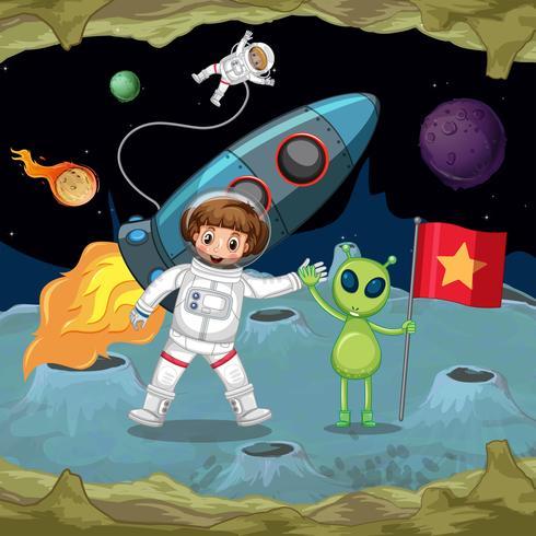 Astronautes et extraterrestres se tenant la main dans l'espace vecteur