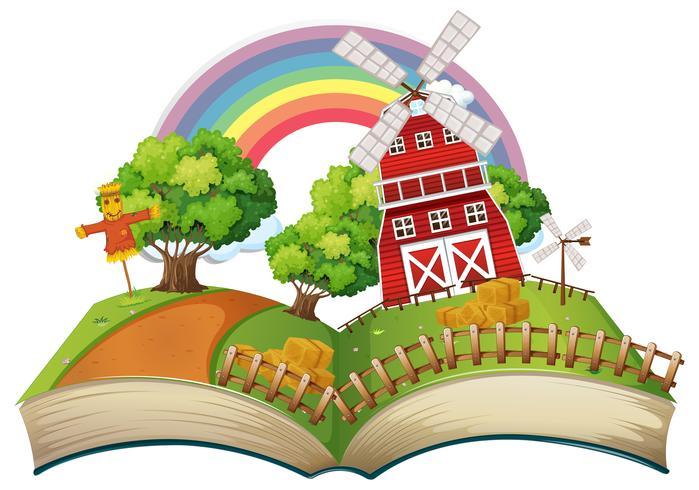 Livre avec scène de la ferme pendant la journée vecteur