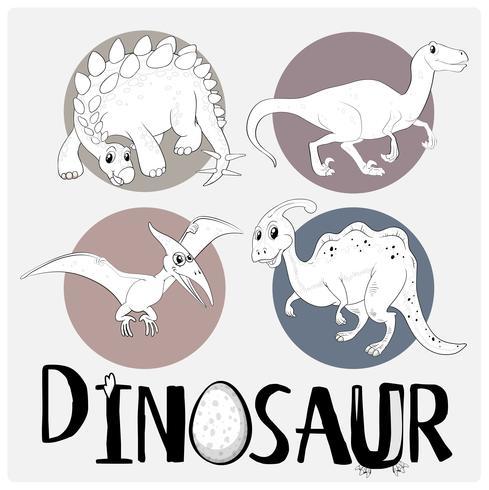 Quatre types de dinosaures sur une affiche blanche vecteur