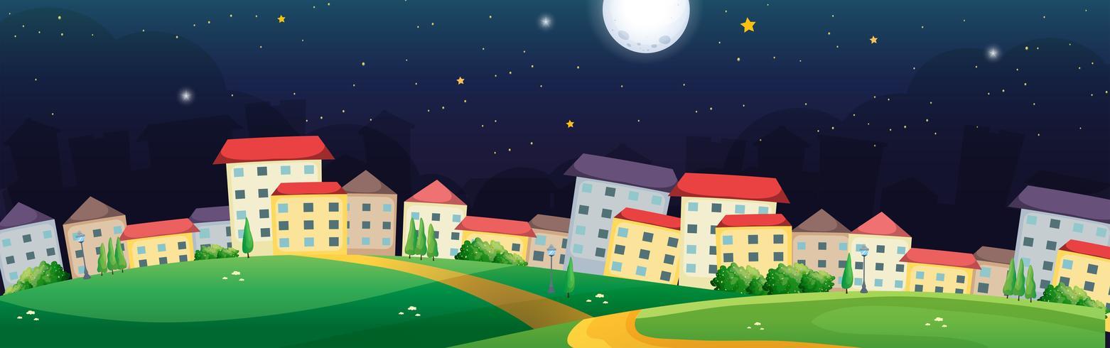 Scène de village la nuit vecteur