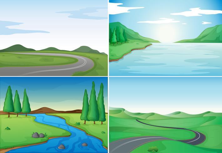 Quatre scènes de la nature avec des rivières et des routes vecteur