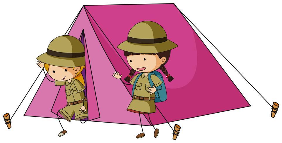 Deux enfants dans une tente rose vecteur