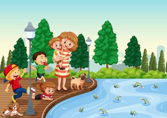 Mère et enfants au parc vecteur