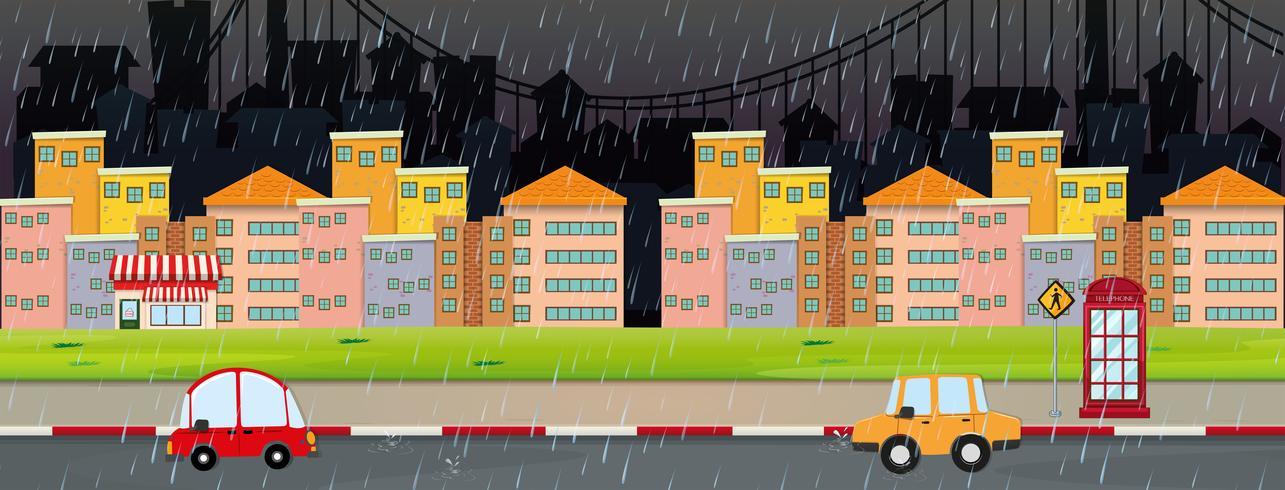 Scène de la ville la nuit par temps pluvieux vecteur