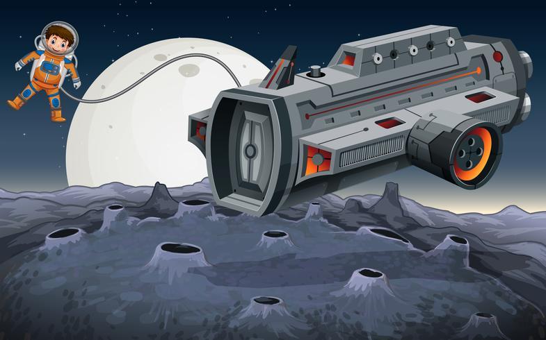 Astronaute volant hors de vaisseau spatial dans l'espace vecteur