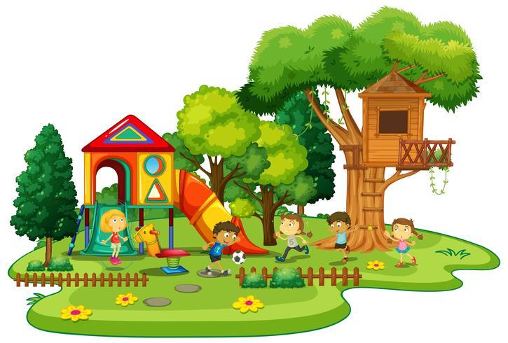 Scène de terrain de jeu avec des enfants qui jouent vecteur
